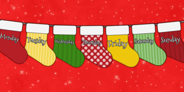 Christmas Advent Calendar Mini Stocking Bunting With Days of Week