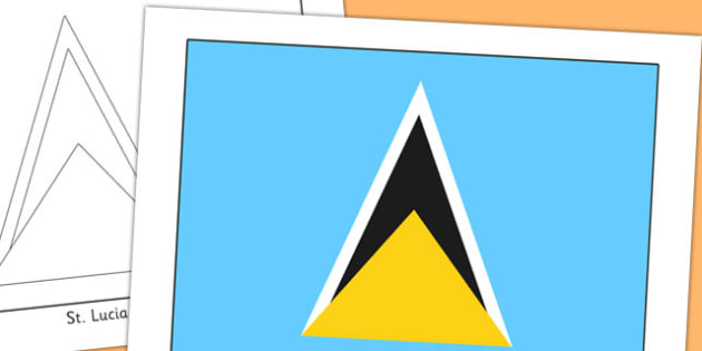 St Lucia Flag Display Poster - countries, geography, flags