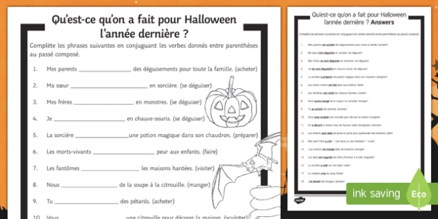 Halloween Perfect Tense Gap Fill Activity Sheet-French, worksheet