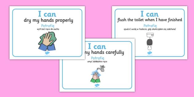I Can Toilet Signs Home Polish Translation - polish, I can, toilet, sign, display, home