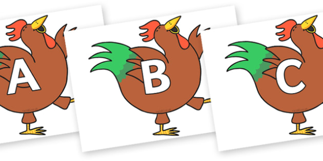 A-Z Alphabet on Hullabaloo Rooster to Support Teaching on Farmyard Hullabaloo - A-Z, A4, display, Alphabet frieze, Display letters, Letter posters, A-Z letters, Alphabet flashcards