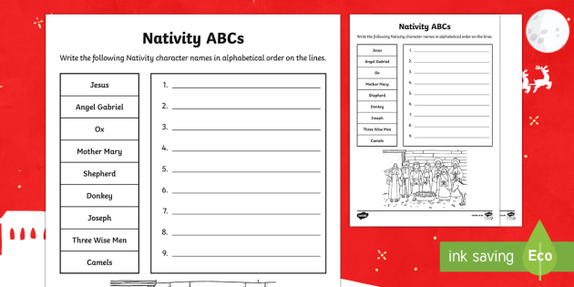 Nativity Alphabetical Order Activity Sheet