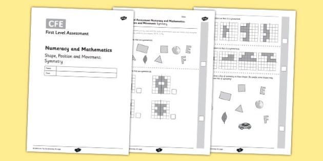 First Level Assessment - Symmetry - CfE, assessment, shape, symmetry