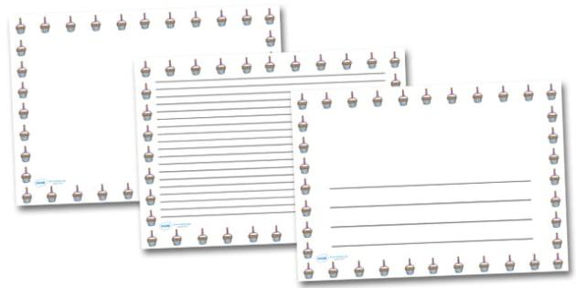 Birthday Bun Landscape Page Borders- Landscape Page Borders - Page border, border, writing template, writing aid, writing frame, a4 border, template, templates, landscape