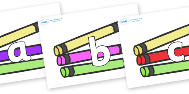 Phoneme Set on Crayons - Phoneme set, phonemes, phoneme, Letters and Sounds, DfES, display, Phase 1, Phase 2, Phase 3, Phase 5, Foundation, Literacy