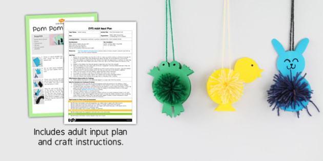 Pom Pom Animals Craft EYFS Adult Input Plan And Craft Pack- craft, pack