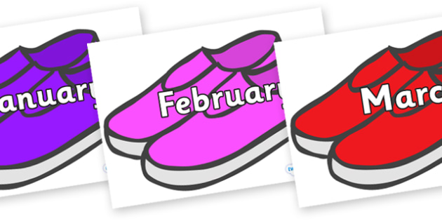 Months of the Year on Shoes - Months of the Year, Months poster, Months display, display, poster, frieze, Months, month, January, February, March, April, May, June, July, August, September