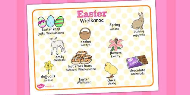 Easter Word Mat Polish Translation - religion, celebration, words