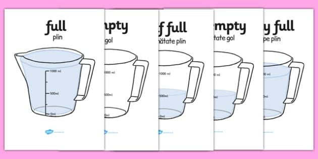 Capacity Display Posters Jug Romanian Translation - romanian, Capacity display posters, capacity, volume, litre, full, empty, half full, measure, jug, cup, water, display, poster, freize