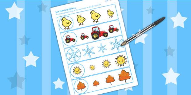 Seasons Size Matching Worksheet - seasons, weather, size, match
