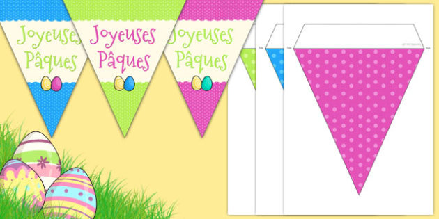 Easter Party Happy Easter Bunting French - french, easter, easter party, bunting