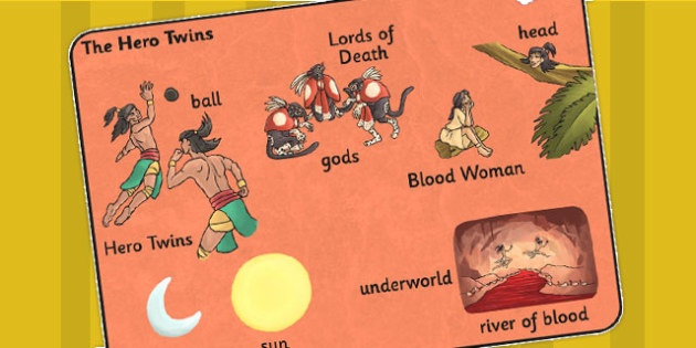 The Hero Twins Mayan Civilization Story Word Mat - ancient maya