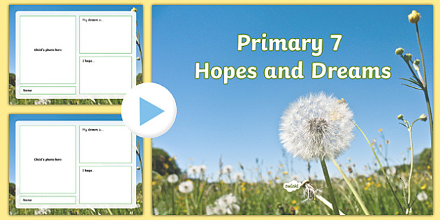 Primary 7 End of Year Hopes and Dreams Assembly PowerPoint Template - End of year, transition, assembly, future, primary 7, seven, CfE