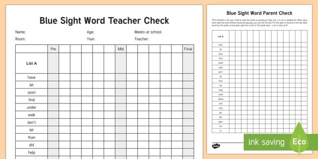 Blue Reading Sight Words Checklist - Literacy, Reading, Blue Sight Words, Colour Wheel, english, tracking, progress, parents, nz, new zea