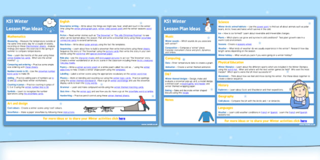 Winter KS1 Lesson Plan Ideas - winter, lesson plan, ideas, ks1