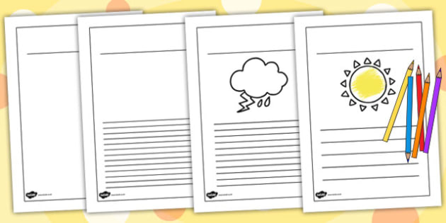 Winter Writing Frames Lined Black and White - writing aid, winter