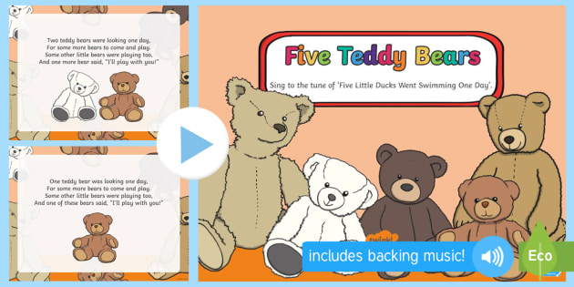 Five Teddy Bears Song PowerPoint - EYFS, Early Years, Toys, toy shop, teddies, teddy bears, counting rhyme, number song.