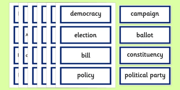Scottish Elections 2016 Democracy Key Words - CfE, Scotland, politics, government, parliament, elections, voting