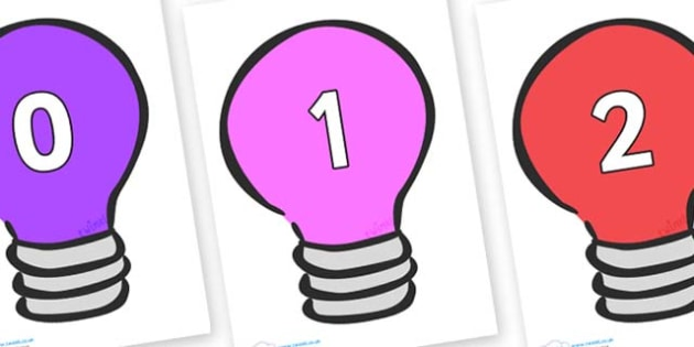 Numbers 0-50 on Lightbulbs (Multicolour) - 0-50, foundation stage numeracy, Number recognition, Number flashcards, counting, number frieze, Display numbers, number posters