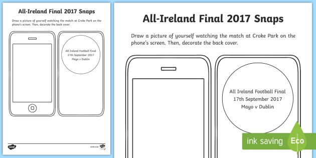 My All Ireland Football Final Snapshots Writing Activity Sheet-Irish, worksheet