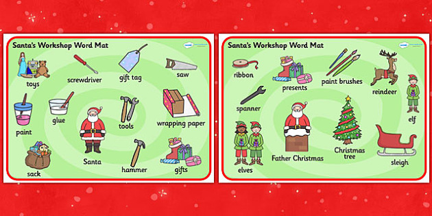 Santa's Workshop Word Mat - Christmas, xmas, Santas workshop, grotto, Word mat, writing aid, elf, elves, Santa, Father Christmas
