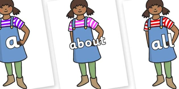 100 High Frequency Words on Enormous Turnip Girl - High frequency words, hfw, DfES Letters and Sounds, Letters and Sounds, display words