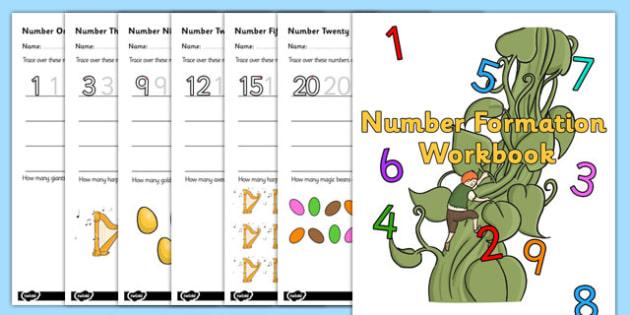 Jack And The Beanstalk Number Formation Workbook - workbooks, overwriting