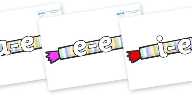 Modifying E Letters on Sweets - Modifying E, letters, modify, Phase 5, Phase five, alternative spellings for phonemes, DfES letters and Sounds