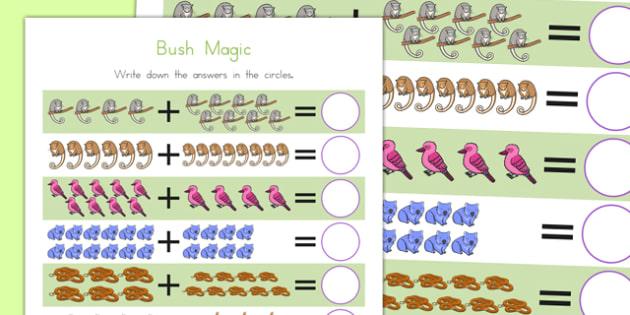 Bush Magic Up to 20 Addition Sheet - australia, bush magic, possum magic, addition
