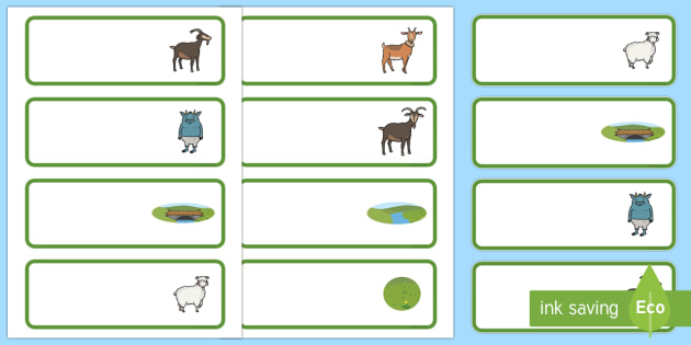The Three Billy Goats Gruff editable Drawer, Peg, Name Labels - Editable Label Templates, Three Billy Goats Gruff, Resource Labels, Name Labels, Editable Labels, Drawer Labels, Coat Peg Labels, Peg Label, KS1 Labels, Foundation Labels, Foundation Sta