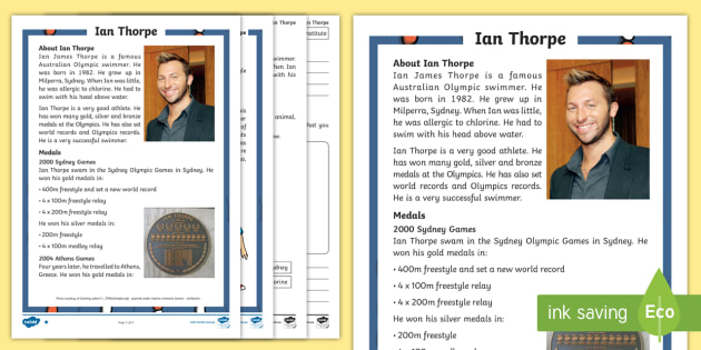 Ian Thorpe Differentiated Comprehension Challenge Sheet - ian thorpe,Australia, comprehension, reading, non fiction
