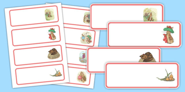 Beatrix Potter - The Tale of Benjamin Bunny Editable Drawer Peg Name Labels - beatrix potter, benjamin bunny