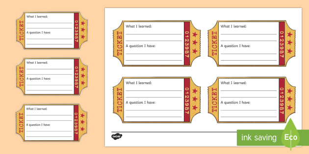Exit Ticket Writing Template - Classroom Management And