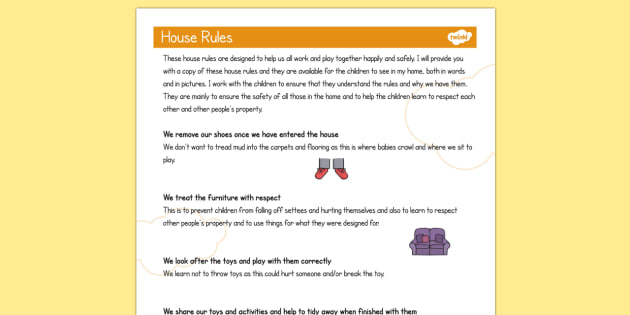 Childminder House Rules - Child, Minder, House, Rules, Babysit