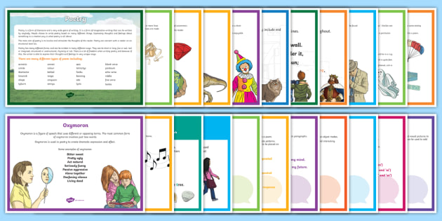 Poetry Terms Display Pack - Literacy, assonance, simile, metaphor, display, hyperbole, verse, stanza