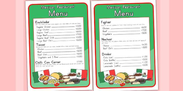 Mexican Restaurant Role Play Menu - food, foods, menus, takeaway