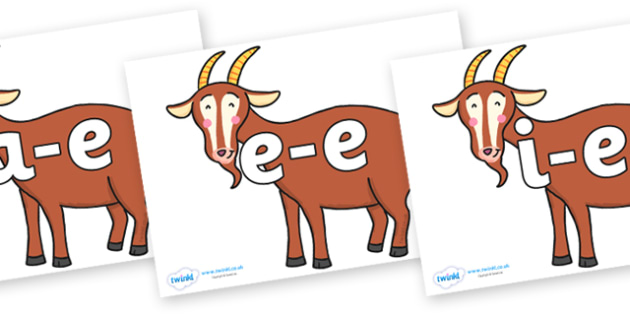 Modifying E Letters on Hullabaloo Goat to Support Teaching on Farmyard Hullabaloo - Modifying E, letters, modify, Phase 5, Phase five, alternative spellings for phonemes, DfES letters and Sounds