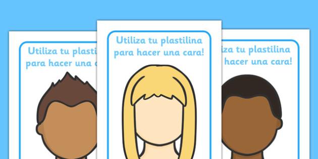 Spanish Face Playdough Mats - spanish, playdough, mats, face