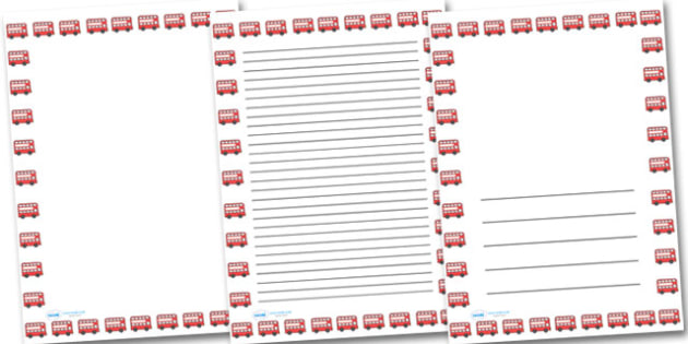 Red Bus Portrait Page Borders- Portrait Page Borders - Page border, border, writing template, writing aid, writing frame, a4 border, template, templates, landscape