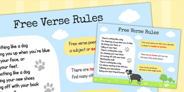 Recognise Some Different Forms of Poetry Free Verse Rules Poster