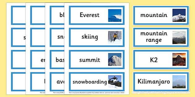Mountains Topic Word Cardss - Mountain, mountains, survival, mountain survival, topic, geography, topic, topic cards, cards, flashcards, map, cagoule, first aid kit, rucksack, backpack, gas stove, walking boots, what to you need