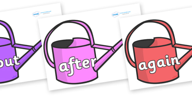KS1 Keywords on Watering Cans - KS1, CLL, Communication language and literacy, Display, Key words, high frequency words, foundation stage literacy, DfES Letters and Sounds, Letters and Sounds, spelling