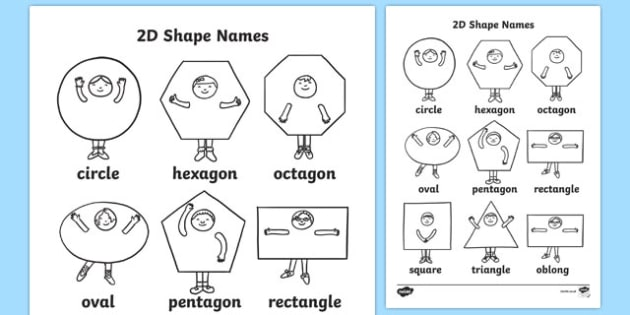 2D Shapes Words Coloring Sheets - 2D, shape, coloring, wet play, 2D shape, circle, hexagon, octagon, oval, pentagon, rectangle, square, triangle, oblong
