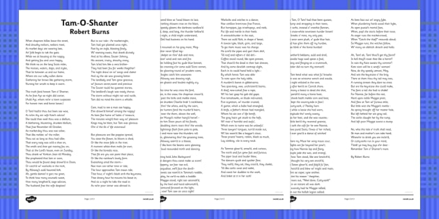 Tam-O-Shanter Robert Burns Poem Print Out - cfe, tam-o-shanter, robert burns, burns night, print out, poem