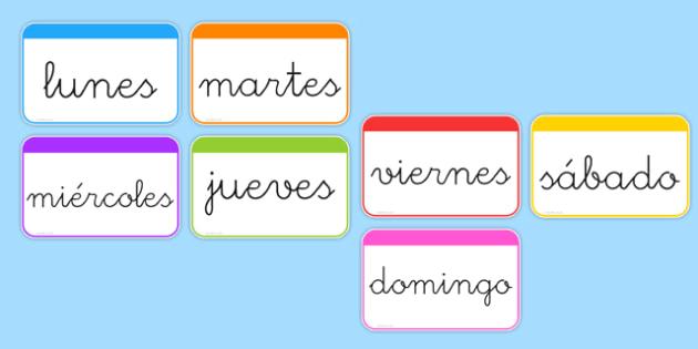 Tarjetas de vocabulario Los días de la semana - calendario, decorción
