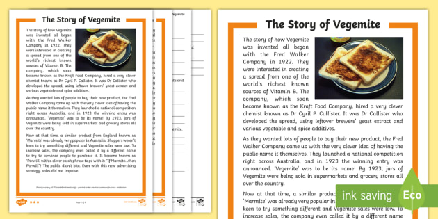 Vegemite Reading Comprehension Activity Sheet - food, Australia, questions, information, Worksheet