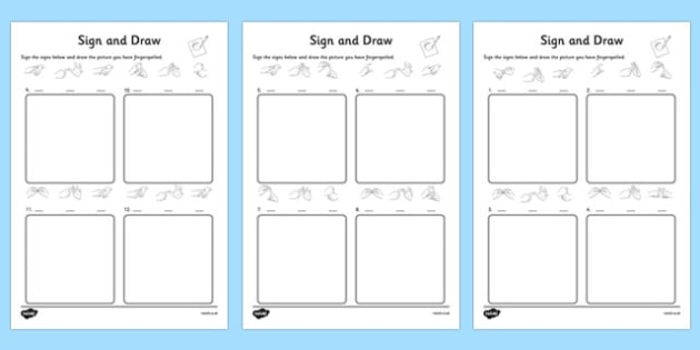 British Sign Language Alphabet Sign and Draw Worksheet - sign