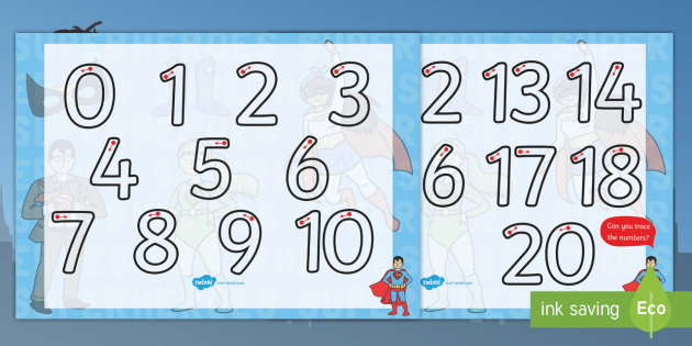 Superhero Themed Number Formation 0-20 - superhero, themed, number formation, 0-20, number, formation, overwriting
