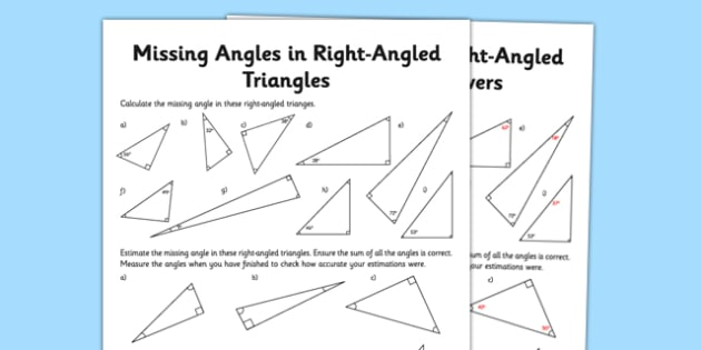 Calculating Angles of a Right-Angled Triangle Activity Sheet - calculating angles, right angled triangle, activity, worksheet