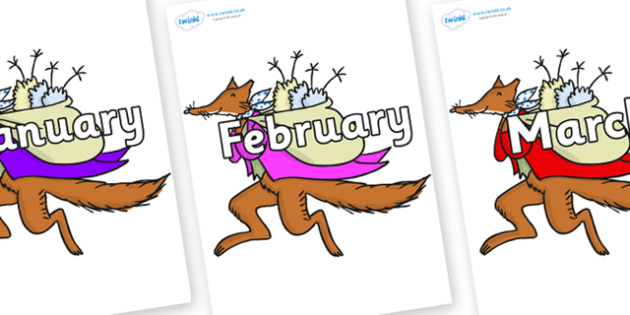Months of the Year on Mr Fox to Support Teaching on Fantastic Mr Fox - Months of the Year, Months poster, Months display, display, poster, frieze, Months, month, January, February, March, April, May, June, July, August, September